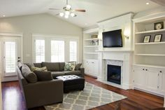 Fireplace with built-ins.