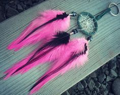 Dream Catcher Feather Keychain Dream Catcher Pink by InkandRoses13, $16.99
