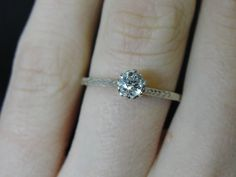 Gorgeous Engraved Solitaire Engagement Ring Victorian White Gold Antique Vintage Estate Simple Detailed RGDI815. $945.00, via Etsy.