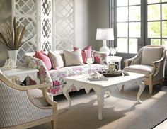 floral pink furniture looks great here.. otherwise - dull..