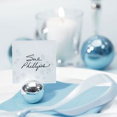 place card holders, balls, marque place, blue, wedding places, beach weddings, wedding place cards, white weddings, winter weddings