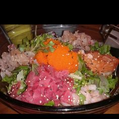Chirashi Salad ...unbelievably good! All raw fish and sushi rice♥
