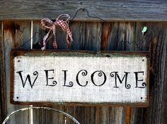 Rustic Reclaimed Wood Welcome Sign Burlap by SoPurdyCreations