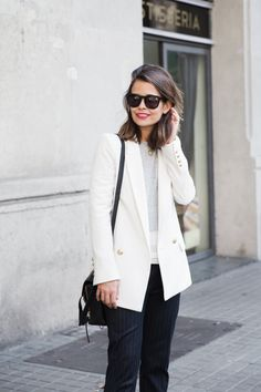 white blazer and pinstripes via collagevintageblog