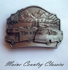 Vintage 1987 RV CAMPER MOTOR HOMES BELT BUCKLE Siskiyou Pewter