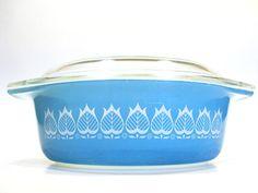 1960s Vintage Rare Pyrex Blue Tulip Promotional Casserole Dish