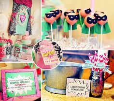, PINK and full of girl power: A Supergirl Party {Joint Birthday ...