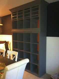 DIY built in from Ikea Expedit shelves. Could we use shelves like this above our kitchen cabinets? And add lighting?