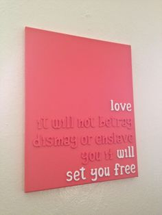 Mumford and Sons lyrics wooden letters on canvas