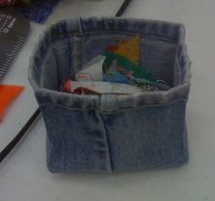 pants leg, boxed and sides stitched to make sq.