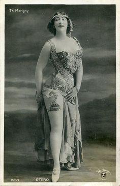 Vintage French hand tinted photo postcard - Actress miss Otero wearing beautiful costume - Victorian Paper Ephemera