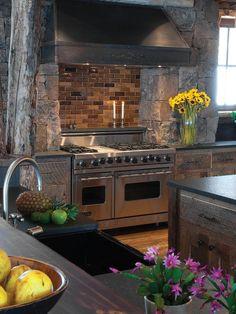 Gourmet Viking Oven With Brick Backsplash and Stone Surround : Designers' Portfolio : HGTV - Home & Garden Television