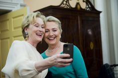 Meryl Streep taking a pic of herself and Hillary Clinton.