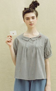 Felissimo | Association pullover blouse with gingham check |. Syrup