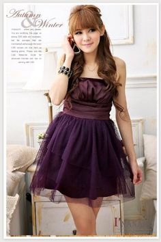 Girl Sexy Strapless Mesh School Party Evening Gown Prom Cocktail Mini Dress (Purple)