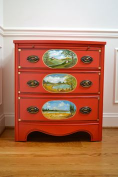 Vintage Hand painted Red 3 Drawer Chest