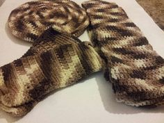 Handmade Crochet Brown Multi Color Beret Scarf and by Aaccezzories