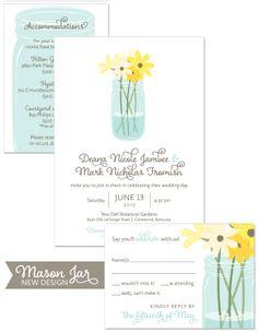 Mason Jar Wedding Invitation | by The Green Kangaroo, Inc.