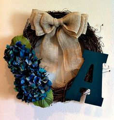 Teal Hydrangea Monogrammed Wreath - initial Wreath - Monogram Wreath - Rustic Wreath - Wreath - Fall Wreath - Door Wreath on Etsy, $42.00