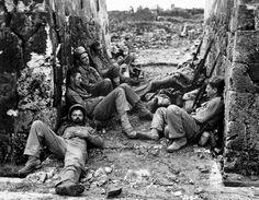 Marines of the 6th Division sleeping between battles on Okinawa, 29 May 1945!