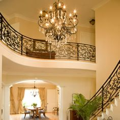 chandelier and railings