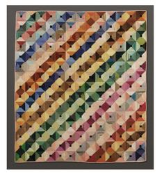 """Laura Long (1870–1975) Quilt, """"Log Cabin"""" Pattern, 1931 Silk, 861⁄2 x 751⁄2 in. Los Angeles County Museum of Art, gift of Mr. and Mrs. Wilbur Long (M.71.103) © Estate of Laura Long"""