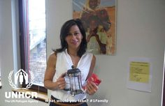 Paola decided to take a cafetiere and a bag of coffee. Paola from the UK - Visit 1family - http://unhcr.org/1family/