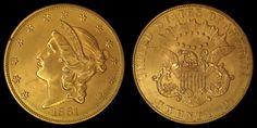 "1861 Philadelphia Mint ""Paquet Reverse"" Liberty Double Eagle #Gold #Coin."
