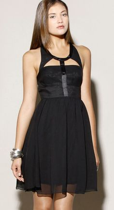 Silk Cut Out Dress Black
