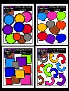 This 44-piece set is one of my favorites because there are endless creative possibilities with these elements! Included are 40 vibrant, colored images and 4 black and white version (not shown in the preview). Have fun experimenting with layering, resizing and mixing these elements to add a fun, vibrant flare to your lessons and resources!$
