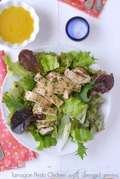 Tarragon Pesto Chicken on dressed greens - BoulderLocavore.com