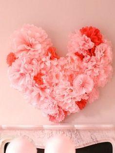 DIY Tissue Pom Heart #valentines