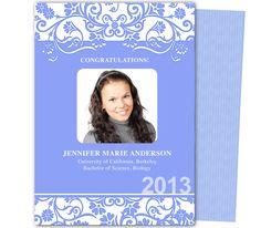 Graduation Announcements Templates : Printable DIY Dandy Graduation Party Announcement Template