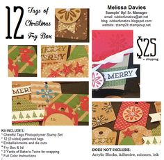 12 Tags of Christmas featuring Stampin' Up! Cheerful tags by Melissa Davies @ rubberfunatics