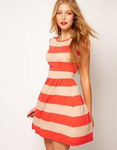 ASOS   ASOS Skater Dress In Wide Stripe at ASOS
