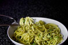 linguine with pea pesto (via Smitten Kitchen)
