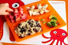 Kid dinner idea: Beans and rice with chicken, avocado, and fruit