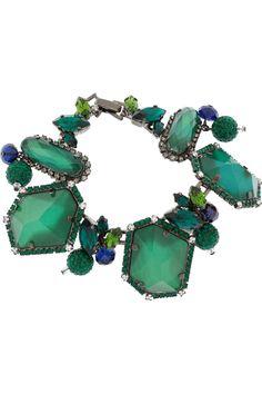Erickson Beamon|Envy gunmetal-plated Swarovski crystal bracelet |NET-A-PORTER.COM