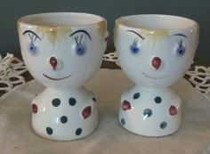 """Here are Mom and Dad before the lure of Ringling. """"What?  And give up show business?""""  Vintage porcelain egg cups from Japan."""