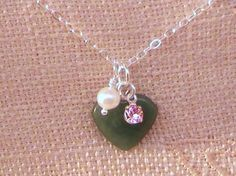 Green Aventurine gemstone pendant pearl and by CreationsChantal, $20.00