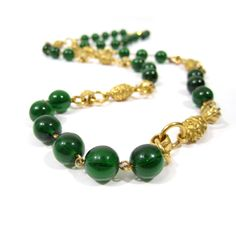 VINTAGE CHANEL Gold Chain Green Stone Necklace