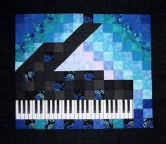 Piano Quilt Art - Blues/Black