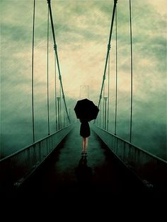 dark photography, the bridge, umbrella, art prints, path