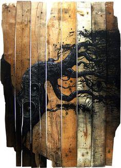 wood on wood art