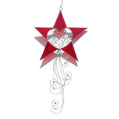 Red Star Stained Glass Suncatcher