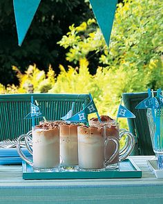 Drink Flags in Root Beer Floats....cute for graduations