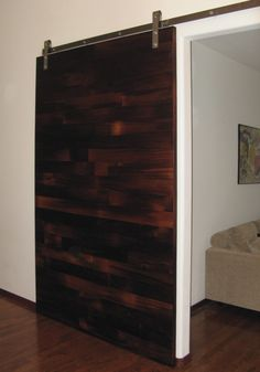 Beautiful sliding wood door.