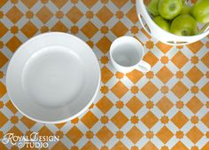 Cool stenciled tabletop.