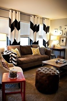 decor, cozy living room, curtains, living rooms, curtain rods, chevron curtain, brown couch, live room, black