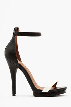 Black and White Ankle-Strap Sandal.